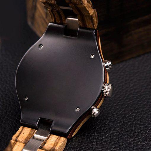 montre en bois luxe elegant nacre dos