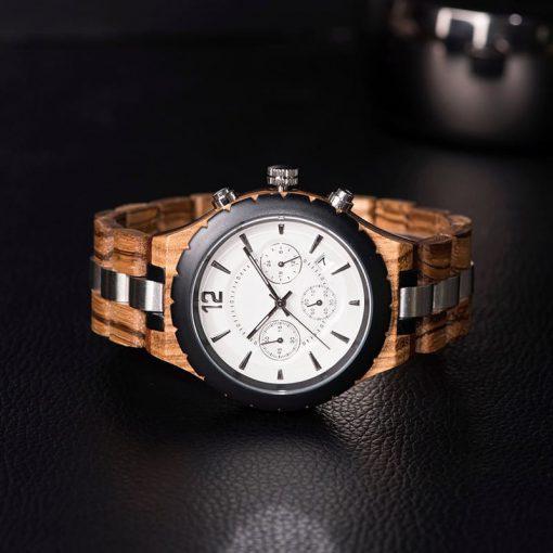 montre en bois luxe elegant nacre face