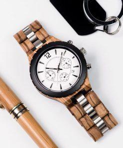montre en bois luxe elegant nacre style