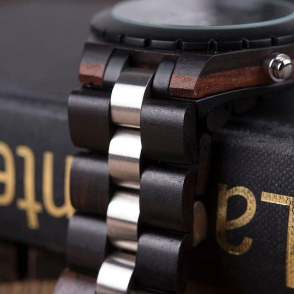 montre en bois luxe elegant noir cote
