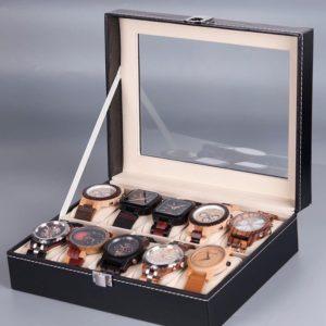 rangement montres en bois 10 pieces exemple