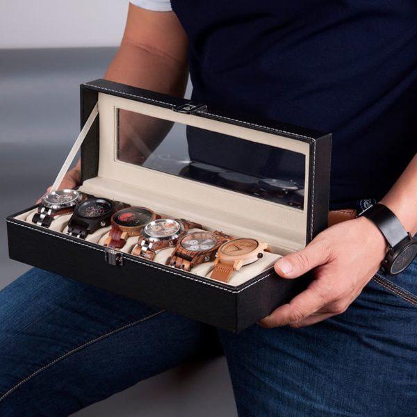 rangement montres en bois 6 pieces exemple