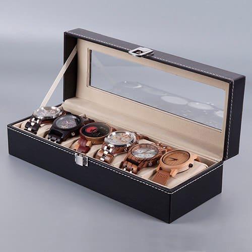 rangement montres en bois 6 pieces exposition