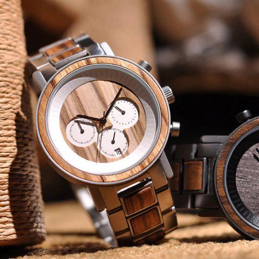 montre bois chronographe