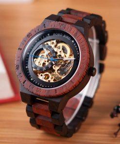 montre bois chronos bordeaux mecanique
