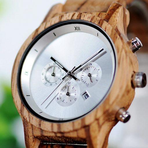 montre bois luxeor gris cadran