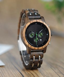 montre bois luxeor noir photo