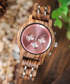 montre bois luxeor rose photo