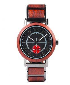 montre bois victus rouge cadran