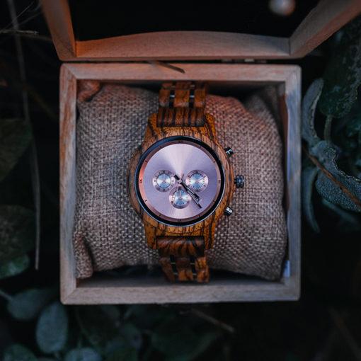montre en bois luxeor femme