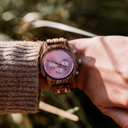 montre en bois luxeor femme poignet