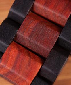 montre en bois mecanique chronos bordeaux bracelet
