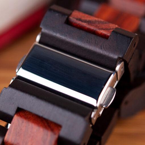 montre en bois mecanique chronos bordeaux fermoir