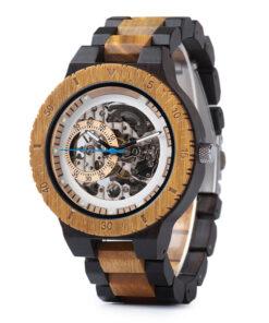 montre en bois mecanique chronos creme