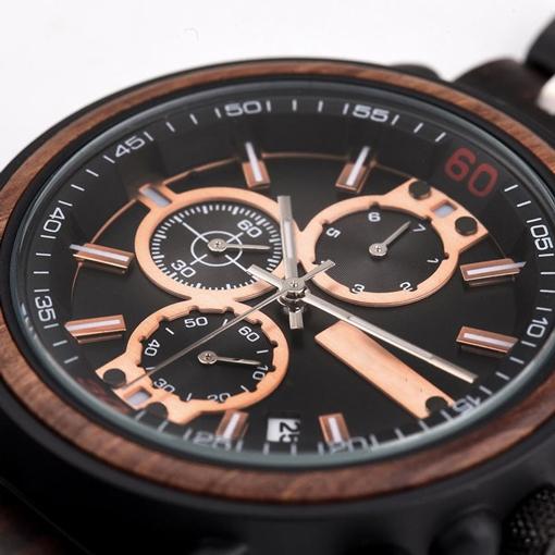 montre en bois amazone cadran chronographe