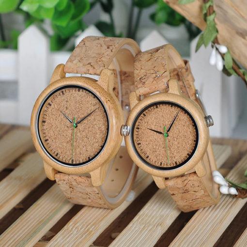 montre en bois bambou liege cadeau