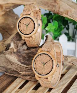 montre en bois bambou liege couple