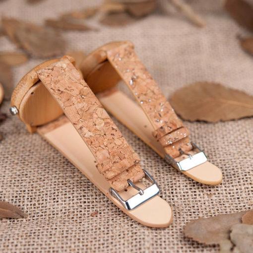 montre en bois bambou liege cuir gravure personnalisee