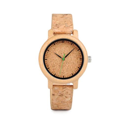 montre en bois bambou liege femme