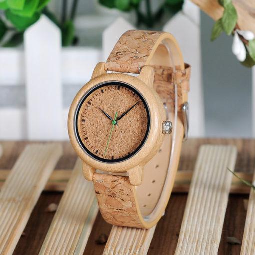 montre en bois bambou liege femme haut de gamme