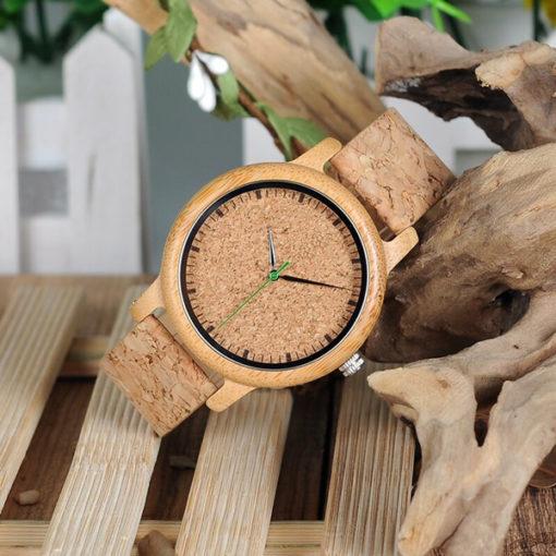 montre en bois bambou liege homme haut de gamme