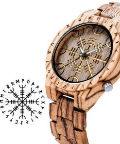montre en bois rune blanc symbole ancien