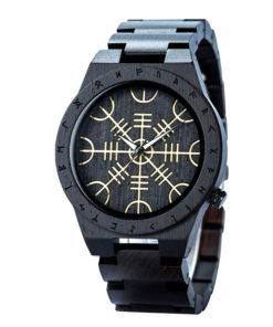 montre en bois rune noir avec symboles