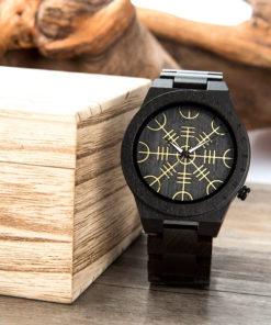 montre en bois rune noir boite en bois