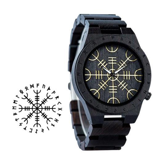 montre en bois rune noir symbole ancien