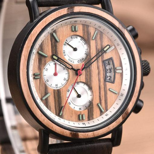 montre en bois tempo homme chronometre cadran