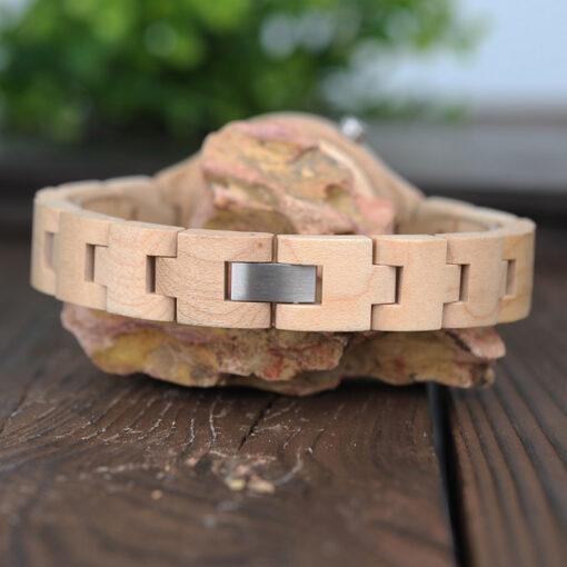 montre en bois metro beige bracelet