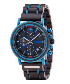 montre en bois night fluo