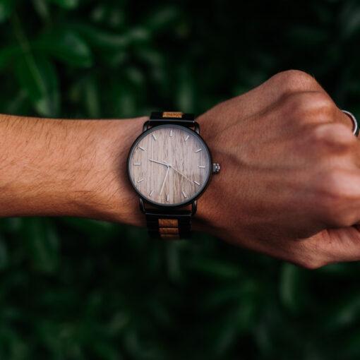 montre en bois nordic chene gris homme