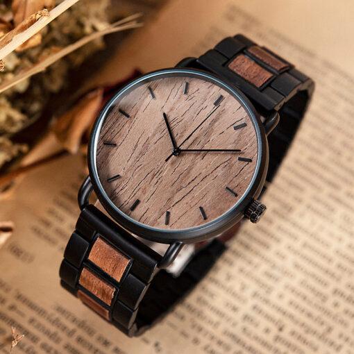 montre en bois nordic noyer minimaliste
