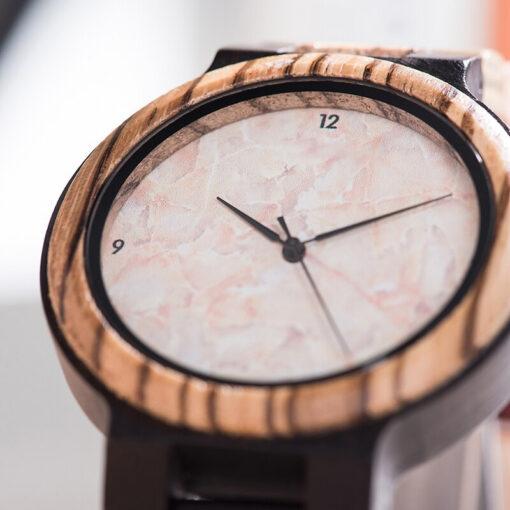 montre en bois quartz cadran