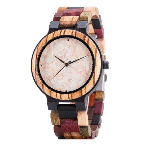 montre en bois quartz homme