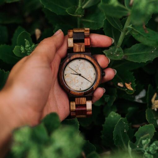 montre en bois quartz naturelle