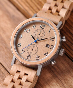 montre en bois tornado beige authentique