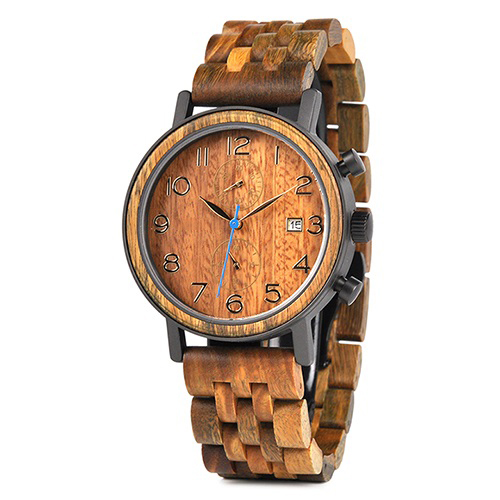 montre en bois tornado orange originale