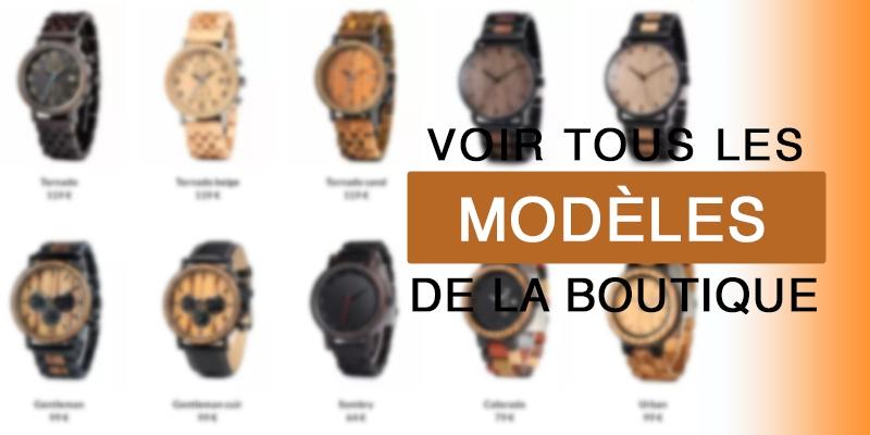 Modèles de montres en bois de la boutique