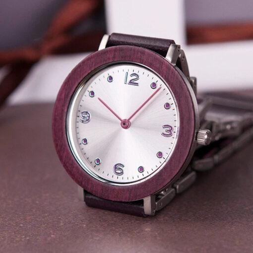 montre en bois femme aero lady violet gravure