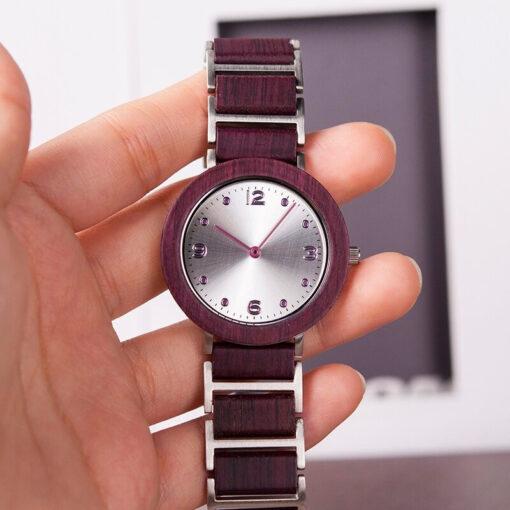 montre en bois femme aero lady violet modele