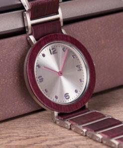 montre en bois femme aero lady violet photo