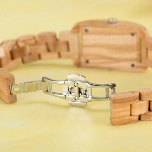 montre en bois femme chrome boucle bracelet