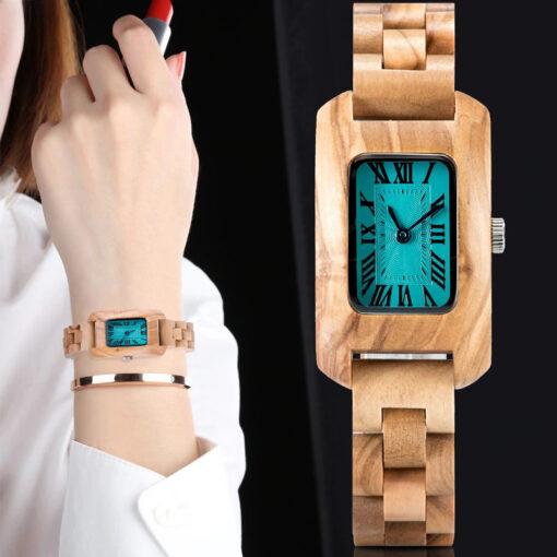 montre en bois femme chrome olivier modele