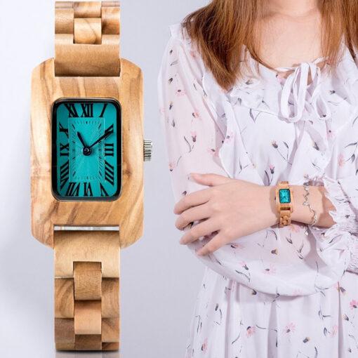 montre en bois femme chrome olivier quartz