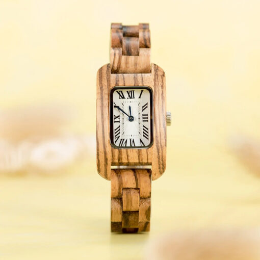 montre en bois femme chrome zebrano photo