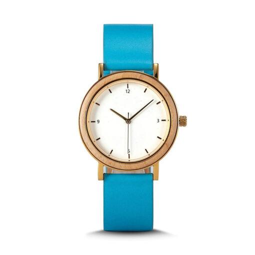 montre en bois femme nesty bleu