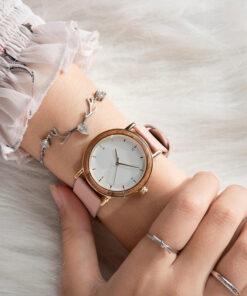 montre en bois femme nesty rose poignet