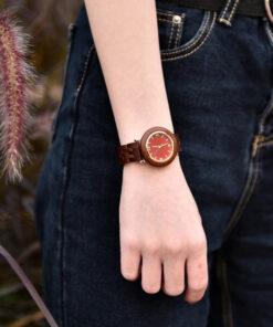 montre en bois femme polar koa poignet